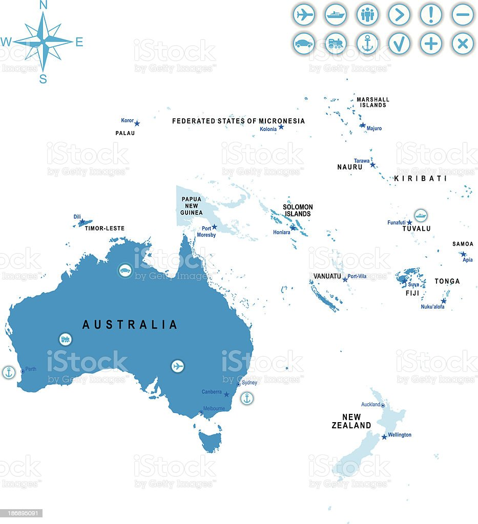 Australia Oceania: The Map Of Australia And Oceania Stock Vector Art & More