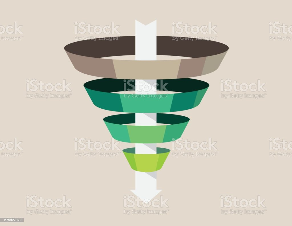 The Marketing funnel in earth tone. vector art illustration