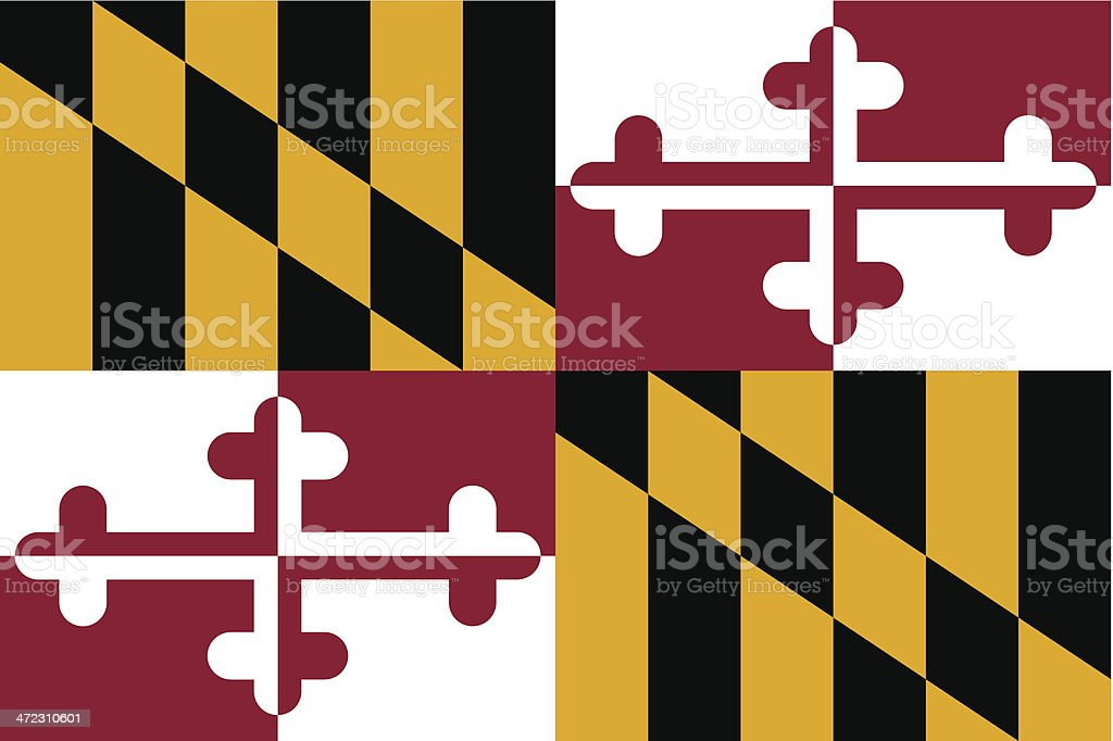The Maryland State flag in four sections vector art illustration