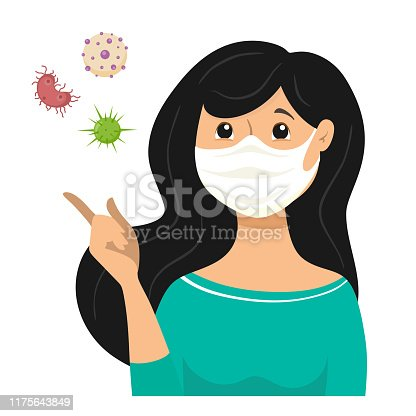 The masked girl, bacteria and viruses fly because the infection is transmitted through the air. Mask for protection against bacteria and viruses. Vector illustration in cartoon flat style