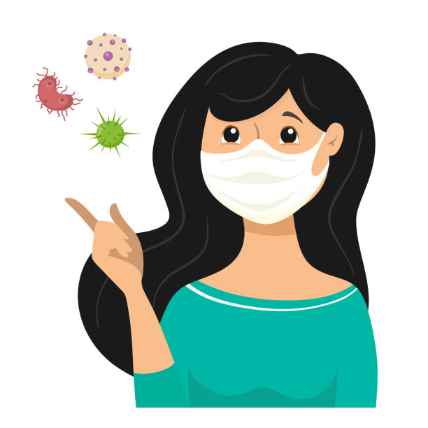 the masked girl, bacteria and viruses fly because the infection is transmitted through the air. mask for protection against bacteria and viruses. vector illustration in cartoon flat style - mask stock illustrations