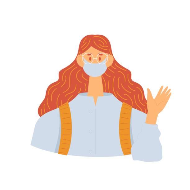 ilustrações de stock, clip art, desenhos animados e ícones de the masked girl greets holding her hand up. isolated on white background female character. - covid hair