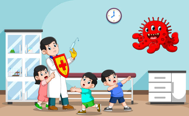 the master of doctor to health the children in the hospital - flu shot stock illustrations