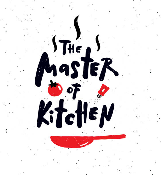 The master of kitchen. Hand written lettering banner with food illustration. Design concept for cooking classes, courses, food studio, cafe, restaurant. cooking designs stock illustrations