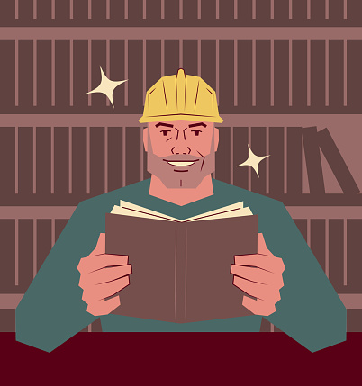 The mature manual worker is reading a book in the library; Never stop learning; To invest in yourself; Knowledge is power; Learning safety by reading