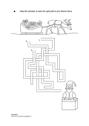 The maze game. Christmas theme. Help the reindeer to join Santa Claus. English language.