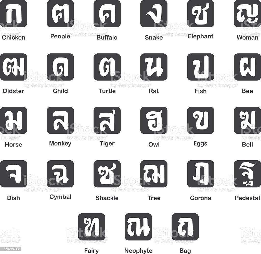 Die Bedeutung Der Thailändischen Schrift Silhouette Set 20 Stock ...