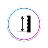 The measuring height and length icon isolated on white background. Ruler, straightedge, scale symbol. Geometrical instruments. Circle white button. Vector Illustration