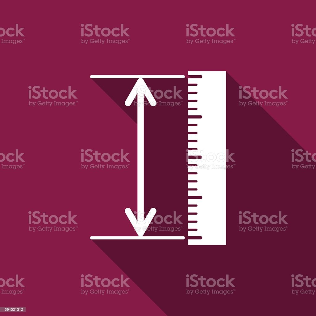 The measuring height and length icon. Ruler, straightedge, scale symbol vector art illustration