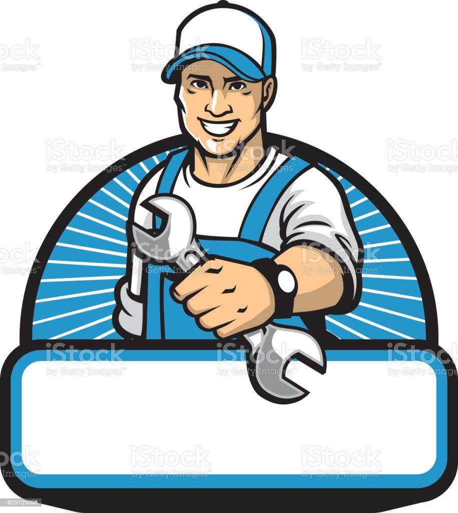 o mascote mecânico com a chave - ilustração de arte em vetor