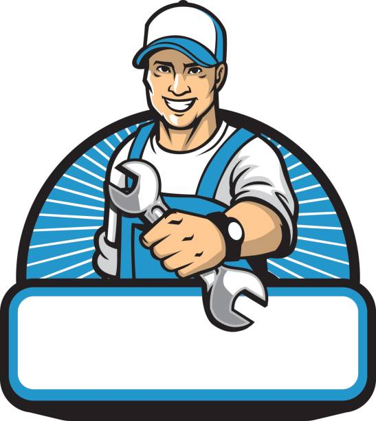 the mechanic mascot with the wrench - plumber stock illustrations, clip art, cartoons, & icons