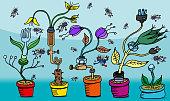 A garden of mechanical flowers.