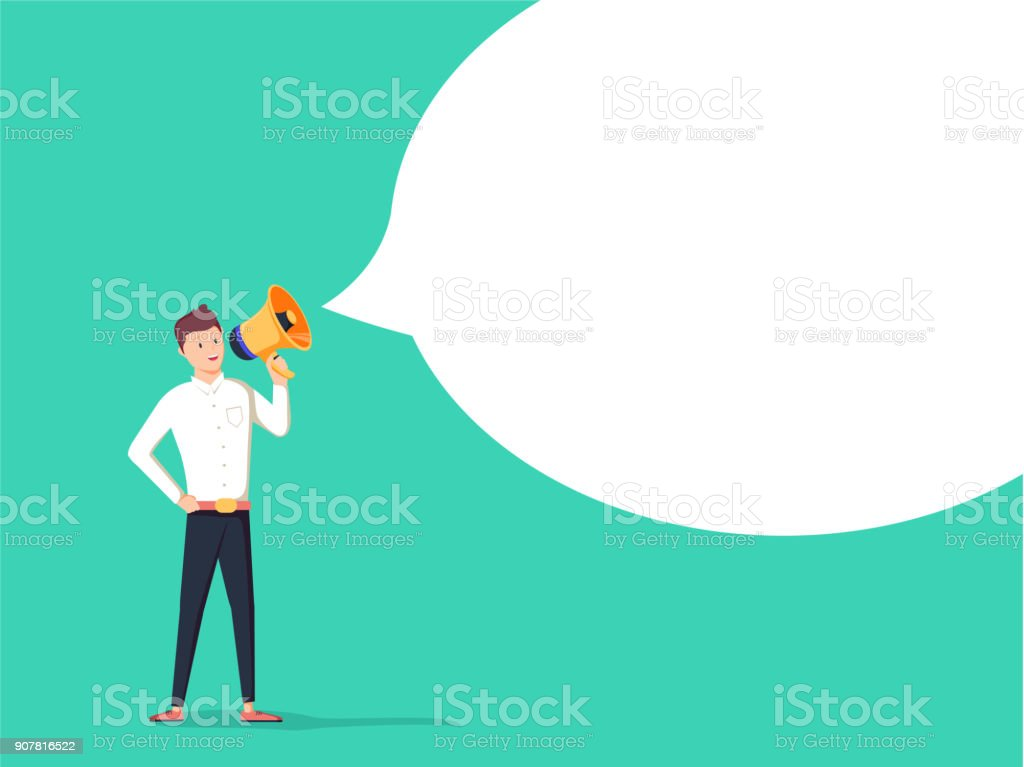 The Message. Businessman communicates through a megaphone. Concept business illustration The Message. Businessman communicates through a megaphone. Concept business illustration. Advertisement poster. Happy young Man passing bubble message Accessibility stock vector