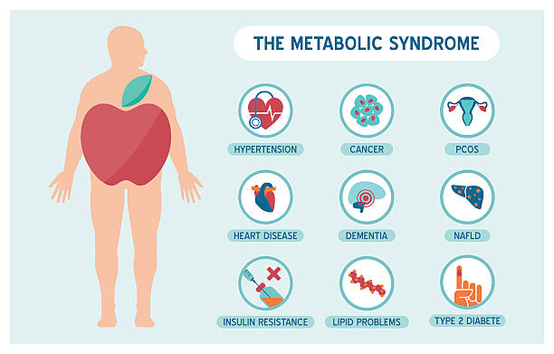 The metabolic sundrome The metabolic syndrome infographics with disease medical icons, fat male body and apple shape cancer illness stock illustrations