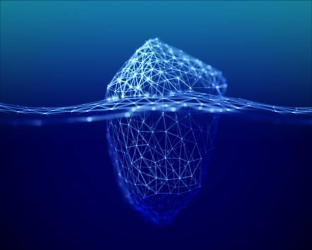 ilustrações de stock, clip art, desenhos animados e ícones de the metaphor of big data, an iceberg with a small visible and large invisible part in the deep sea. - iceberg