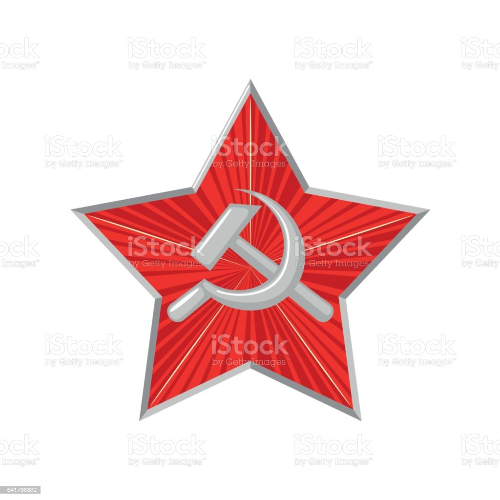 The military Soviet star with hammer and sickle. vector art illustration