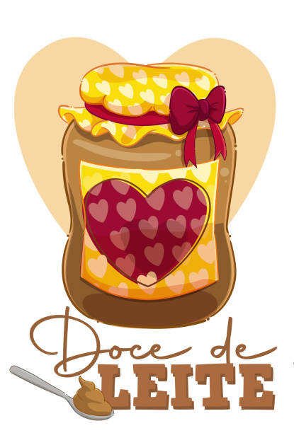 The  Milk sweet Illustration of a jar of dulce de leche in cartoon style. leite stock illustrations