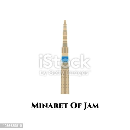 istock The Minaret of Jam. UNESCO World Heritage Site in western Afghanistan. It is great destination for your trip. Travel to Afghanistan famous landmark, historical building flat vector illustration 1286639819