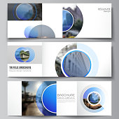 The minimal vector editable layout of square format covers design templates for trifold brochure, flyer, magazine. Creative modern blue background with circles and round shapes