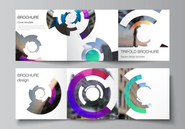 The minimal vector editable layout of square format covers design templates for trifold brochure, flyer, magazine. Futuristic design circular pattern, circle elements forming geometric frame for photo – artystyczna grafika wektorowa