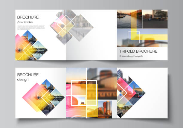 The minimal vector editable layout of square format covers design templates for trifold brochure, flyer, magazine. Creative trendy style mockups, blue color trendy design backgrounds. – artystyczna grafika wektorowa