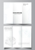 The minimal vector illustration of editable layouts. Modern creative covers design templates for trifold brochure or flyer. Topographic contour map, abstract monochrome background