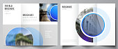 The minimal vector illustration of editable layouts. Modern creative covers design templates for trifold brochure or flyer. Creative modern blue background with circles and round shapes