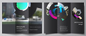 The minimal vector layouts. Modern creative covers design templates for trifold brochure or flyer. Futuristic design circular pattern, circle elements forming geometric frame for photo.