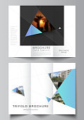 The minimal vector layouts. Modern creative covers design templates for trifold brochure or flyer. Creative modern background with blue triangles and triangular shapes. Simple design decoration