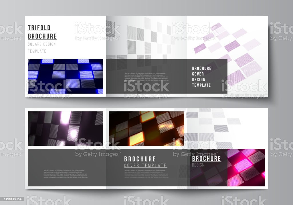The minimal vector of editable layout. Abstract hi-tech background in perspective. Futuristic digital technology backdrop. Modern covers design templates for trifold square brochure or flyer - Grafika wektorowa royalty-free (Abstrakcja)