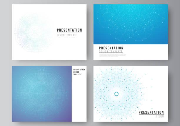 The minimalistic abstract vector illustration layout of the presentation slides design business templates. Big Data Visualization, geometric communication background with connected lines and dots. – artystyczna grafika wektorowa
