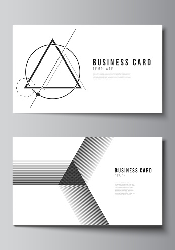 The minimalistic abstract vector illustration layout of two creative business cards design templates. Abstract geometric triangle design background using different triangular style patterns.