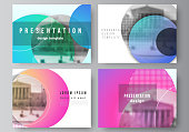 The minimalistic abstract vector illustration of the editable layout of the presentation slides design business templates. Creative modern bright background with colorful circles and round shapes