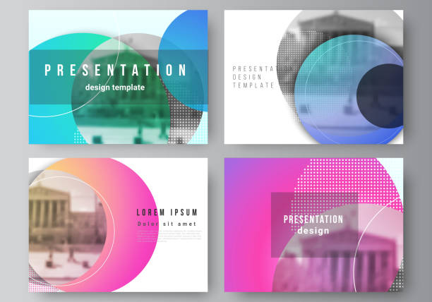 the minimalistic abstract vector illustration of the editable layout of the presentation slides design business templates. creative modern bright background with colorful circles and round shapes. - book backgrounds stock illustrations