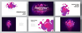 The minimalistic abstract vector illustration of the editable layout of the presentation slides design business templates. Black background with fluid gradient, liquid pink colored geometric element.