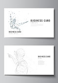 The minimalistic abstract vector illustration of the editable layout of two creative business cards design templates. Man with glasses of virtual reality. Abstract vr, future technology concept