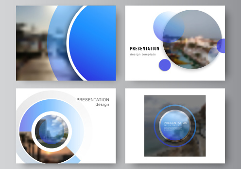 The minimalistic abstract vector illustration of the editable layout of the presentation slides design business templates. Creative modern blue background with circles and round shapes.