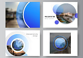 The minimalistic abstract vector illustration of the editable layout of the presentation slides design business templates. Creative modern blue background with circles and round shapes