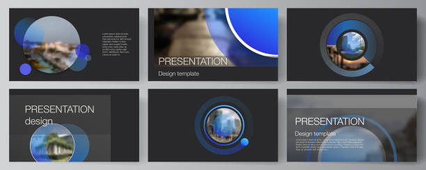 The minimalistic abstract vector illustration of the editable layout of the presentation slides design business templates. Creative modern blue background with circles and round shapes. – artystyczna grafika wektorowa