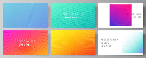 The minimalistic abstract vector illustration of the editable layout of the presentation slides design business templates. Abstract geometric pattern with colorful gradient business background. – artystyczna grafika wektorowa