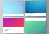 The minimalistic abstract vector illustration of the editable layout of the presentation slides design business templates. Abstract geometric pattern with colorful gradient business background