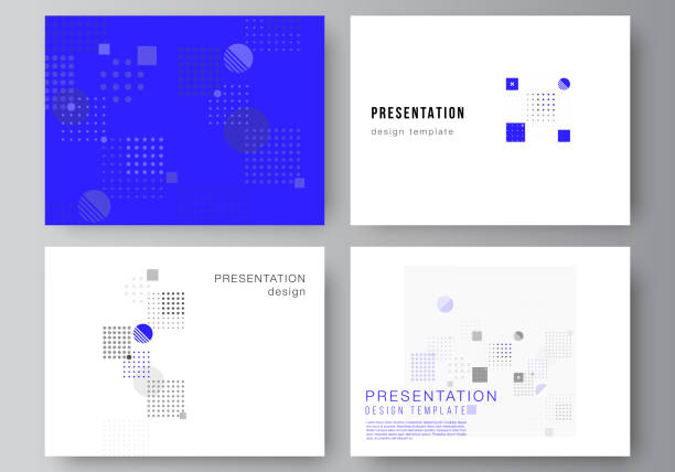 The minimalistic abstract vector illustration of the editable layout of the presentation slides design business templates. Abstract vector background with fluid geometric shapes. – artystyczna grafika wektorowa