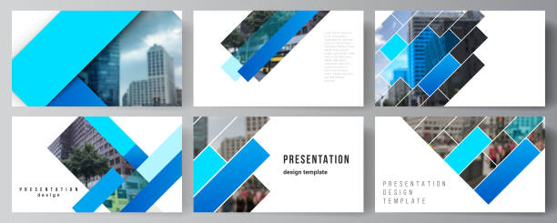 The minimalistic abstract vector illustration of the editable layout of the presentation slides design business templates. Abstract geometric pattern creative modern blue background with rectangles. – artystyczna grafika wektorowa
