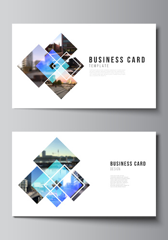 The minimalistic abstract vector illustration of the editable layout of two creative business cards design templates. Creative trendy style mockups, blue color trendy design backgrounds.
