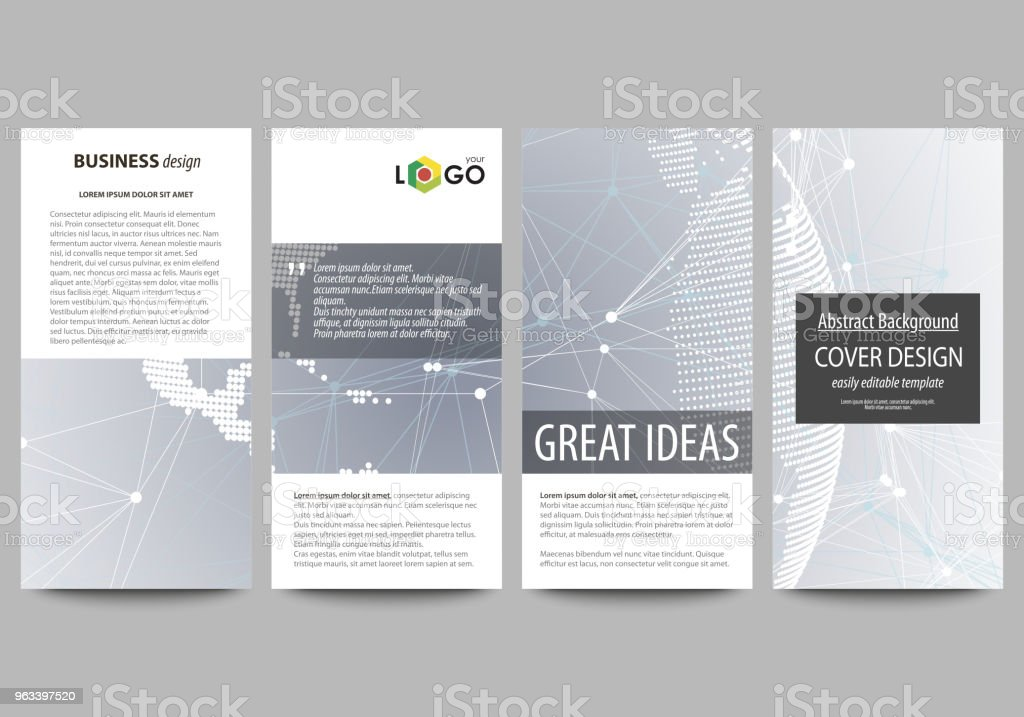 The minimalistic abstract vector illustration of the editable layout of four modern vertical banners, flyers design business templates. Technology concept. Molecule structure, connecting background - Grafika wektorowa royalty-free (Abstrakcja)