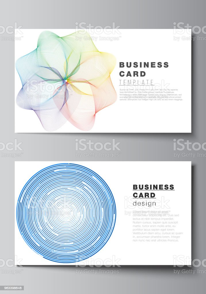 The minimalistic abstract vector illustration of the editable layout of two creative business cards design templates. Abstract colorful geometric backgrounds in minimalistic design to choose from - Grafika wektorowa royalty-free (Abstrakcja)