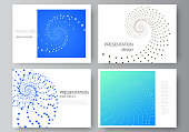 The minimalistic abstract vector illustration of the editable layout of the presentation slides design business templates. Geometric technology background. Abstract monochrome vortex trail