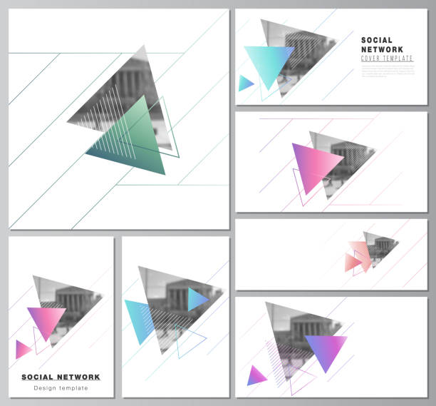 The minimalistic abstract vector illustration of the editable layouts of modern social network mockups in popular formats. Colorful polygonal background with triangles with modern memphis pattern. – artystyczna grafika wektorowa
