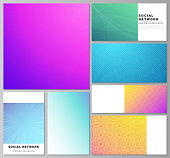 The minimalistic abstract vector illustration of the editable layouts of modern social network mockups in popular formats. Abstract geometric pattern with colorful gradient business background