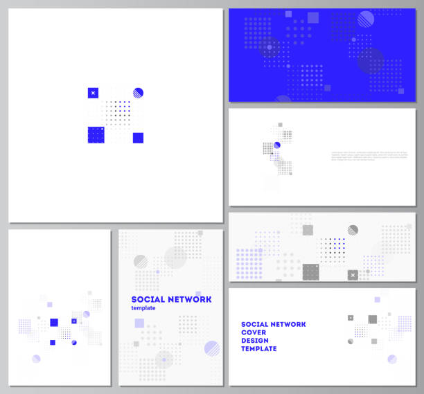 The minimalistic abstract vector illustration of the editable layouts of modern social network mockups in popular formats. Abstract vector background with fluid geometric shapes. – artystyczna grafika wektorowa